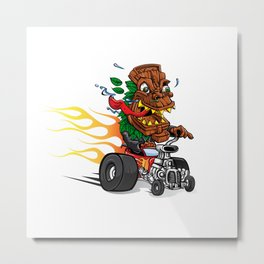 tiki Mask cartoon hotrod Metal Print