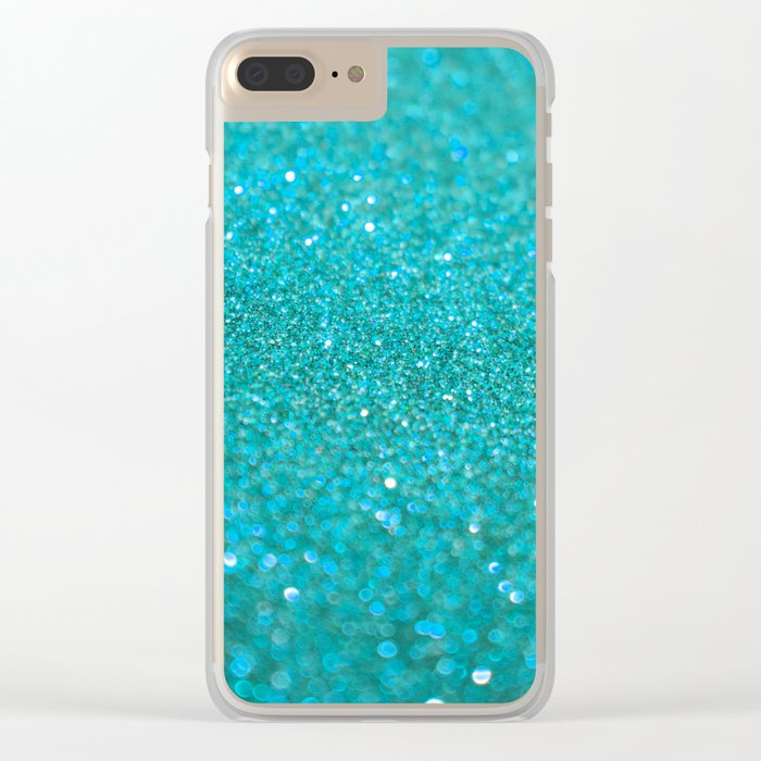 Bright Turquoise Glitter Clear iPhone Case