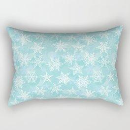 blue winter background with white snowflakes Rectangular Pillow