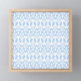 Decorative Plumes - White on Pastel Blue Framed Mini Art Print