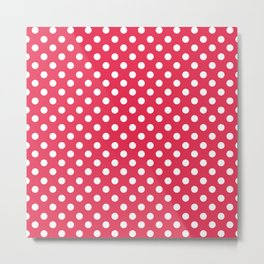 Amaranth Red and White Polka Dot Pattern Metal Print