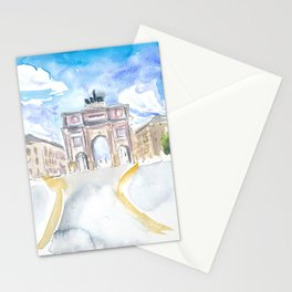 Munich Schwabing Ludwig Street Scene with Victory Gate Stationery Cards