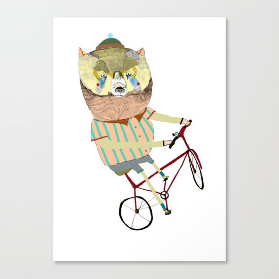 Biking, bike, bikes, biker, bear,  Canvas Print