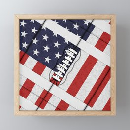 4th of July American Football Fanatic Framed Mini Art Print