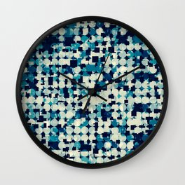 geometric square and circle pattern abstract in blue green Wall Clock