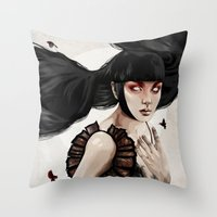 knight Throw Pillows featuring Knight by Feline Zegers