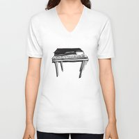 piano V-neck T-shirts featuring Piano by Melilarebelle