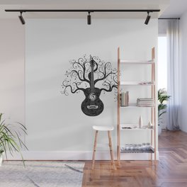 Guitar silhouette with tree branches and music notes Wall Mural