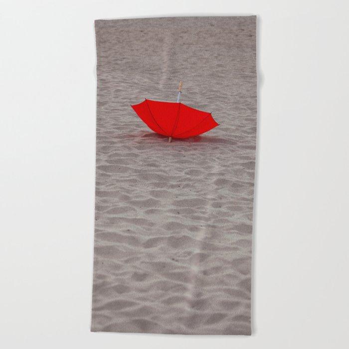 Lost red Umbrella Beach Towel