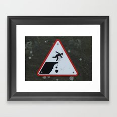 Caution Sign, Cliffs of Mohr Framed Art Print