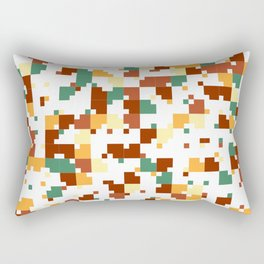 Waiting for Fall - Random Pixel Pattern in Green, Orange and Yellow Rectangular Pillow
