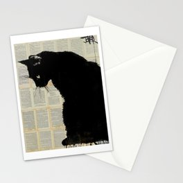 cat black Stationery Cards