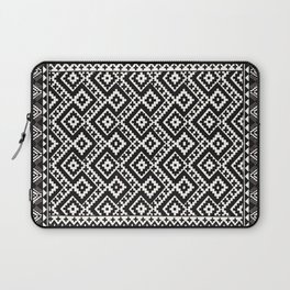 B&W Boho Moroccan Geomitrec Farmhouse Rustic Style Design Laptop Sleeve