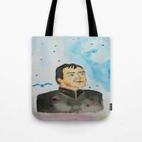 crowley Tote Bags featuring supernatural crowley by meldemirci