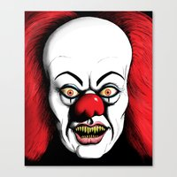 pennywise Canvas Prints featuring Pennywise by darkscrybe