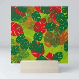 monstera green red Mini Art Print