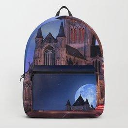Popular Saint Nicholas Church Ghent Belgium Europe Full Moon HD Backpack