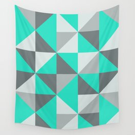 Aqua and Grey Retro Inspired Pattern Wall Tapestry