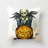 jack skellington Throw Pillows featuring Jack Skellington  by Aonerud