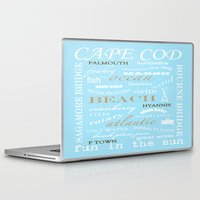 cape cod Laptop & iPad Skins featuring Cape Cod Typography Print by ELIZABETH THOMAS Photography of Cape Cod
