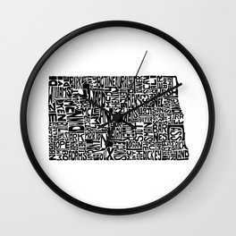 Typographic North Dakota Wall Clock