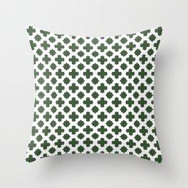 Stars & Crosses Pattern: Pine Green Throw Pillow