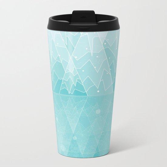 Geometric Lake Mountain IV - Winter Metal Travel Mug