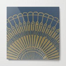 Fan, gold on navy Metal Print