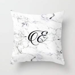 Letter E on Marble texture Initial personalized monogram Throw Pillow