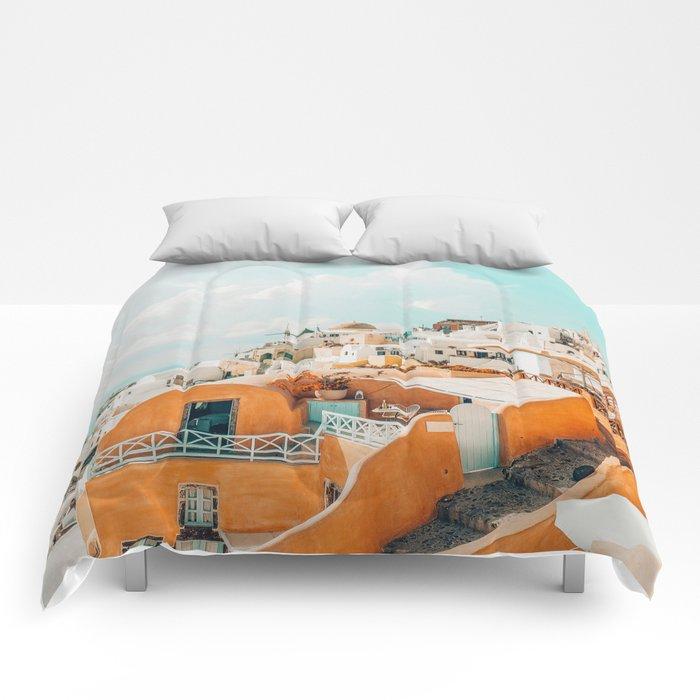 Santorini #travel #greece Comforters