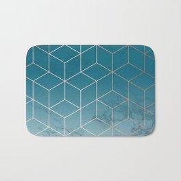 Gold Geometric Cubes Teal Marble Deco Design Bath Mat