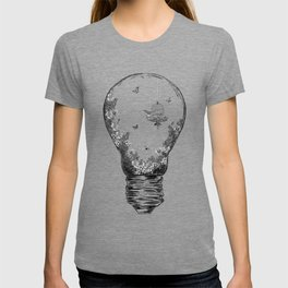 Aquarium Bulb Bird with Flowers T-shirt