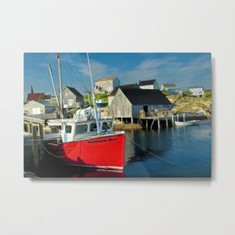 The Boat Harbour Mist in Peggy's Cove Metal Print