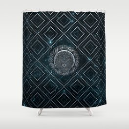Leo Zodiac Silver Embossed on the Star sky Shower Curtain