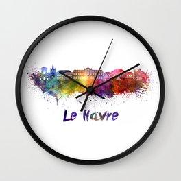 Le Havre skyline in watercolor Wall Clock