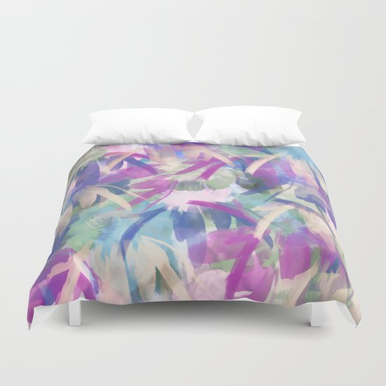 Pastel Floral Extravaganza Abstract Duvet Cover