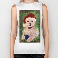 westie Biker Tanks featuring A Very Westie Christmas by Heidi Clifton