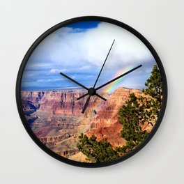 Rainbow Over the Grand Canyon Wall Clock