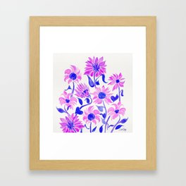 Sunflower Watercolor – Indigo Palette Framed Art Print