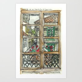 Window in Santiago Spain Art Print