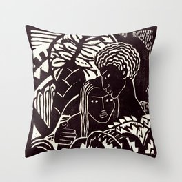 Black couple embracing, African American man and woman Throw Pillow