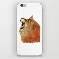 lion iPhone & iPod Skins featuring Birthday Lion by Sandra Dieckmann