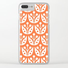 Mid Century Flower Pattern 4 Clear iPhone Case