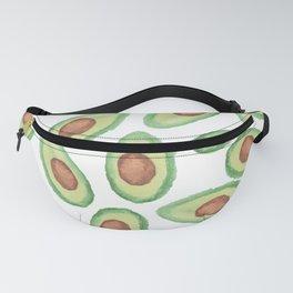 Original green brown watercolor avocado pattern Fanny Pack