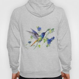 Hummingbird and Deep Blue Flowers, flying bird flowers design birds and flowers Hoody