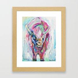 Colorful Bison Framed Art Print
