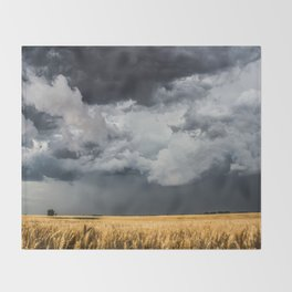 Cotton Candy - Storm Clouds Over Wheat Field in Kansas Throw Blanket