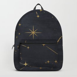 Night Sky Gold Star Constellations Black Watercolor Background Astronomy Design Backpack