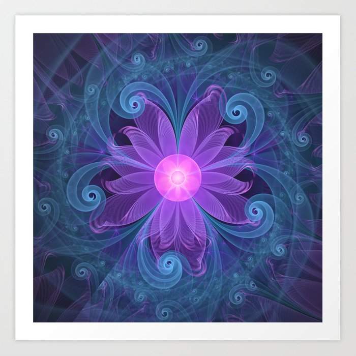 Blown Glass Flower of an ElectricBlue Fractal Iris Art Print