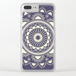 Boho Indian medallion Blue Clear iPhone Case